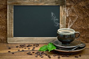 Coffee and vintage style blackboard