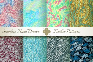 Flying Feathers. 8 Seamless Patterns