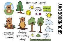 Groundhog Day Doodle Clipart