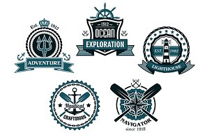 Nautical and marine emblems or icons