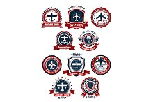 Aviation and air travel banners or e