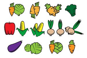 Flat icons of fresh vegetables