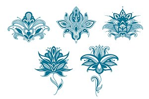 Blue paisley flowers set