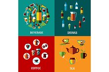 Drinks and beverages flat compositio