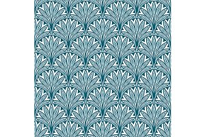 Blue repeating geometric floral patt