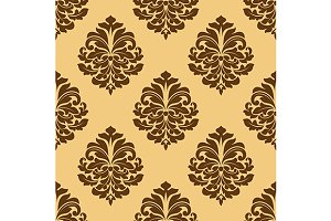 Light and dark brown seamless damask