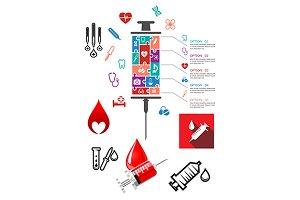Medical and hospital infographics wi