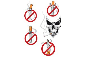 No smoking sign and skull