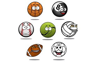 Cartoon funny balls characters