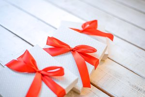 Gift boxes decorated with ribbon
