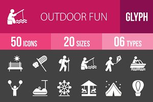 50 Outdoor Fun Glyph Inverted Icons