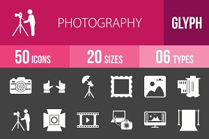 50 Photography Glyph Inverted Icons