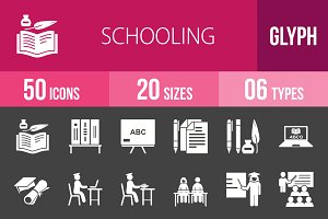 50 Schooling Glyph Inverted Icons