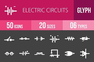 50 Circuits Glyph Inverted Icons