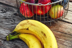 fruits in the iron basket