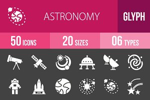 50 Astronomy Glyph Inverted Icons