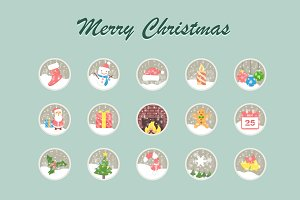 Merry Christmas Vector Icons
