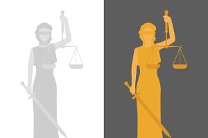 Lady Justice or Justitia, flat style
