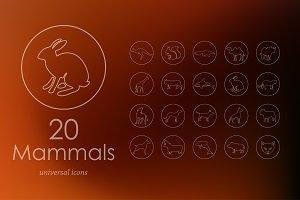 20 mammals line icons