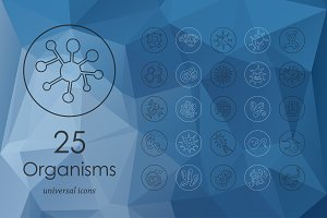 25 organisms line icons
