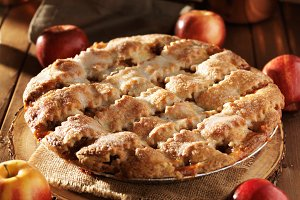 apple pie on rustic table