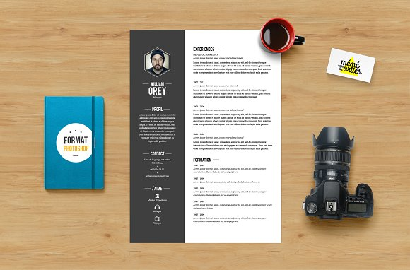 Grey - Resume template Photoshop ~ Resume Templates ~ Creative Market