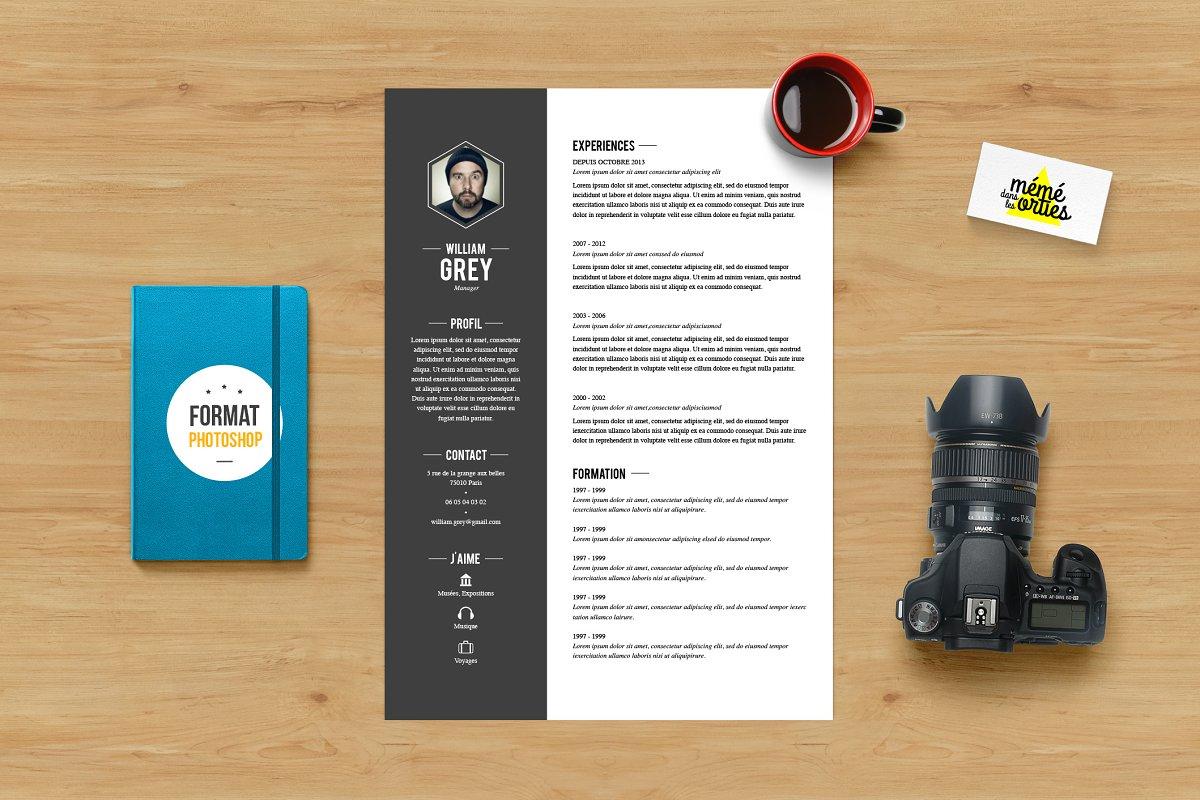 Grey Resume Template Photoshop Resume Templates Creative Market