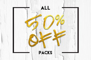 50% off ALL PACKS (worth over $200)