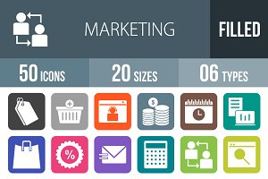 50 Marketing Flat Round Corner Icons