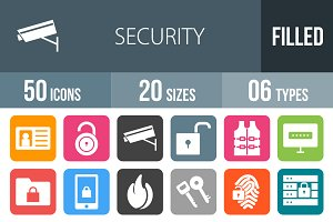 50 Security Flat Round Corner Icons