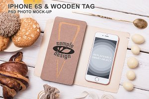 Iphone 6s & Wooden Tag Mockup