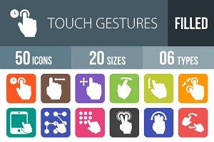 50 Touch Gesture Round Corner Icons