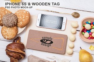 Iphone 6s & Wooden Tag Mockup (h)