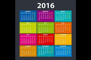 Flat Calendar 2016