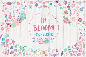 Watercolor Flowers Clipart Bundle