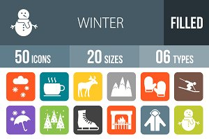 50 Winter Flat Round Corner Icons