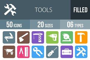 50 Tools Flat Round Corner Icons