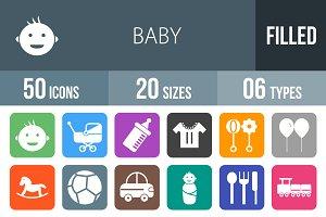 50 Baby Flat Round Corner Icons