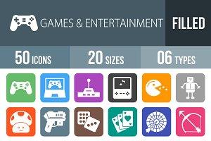 50 Games Flat Round Corner Icons