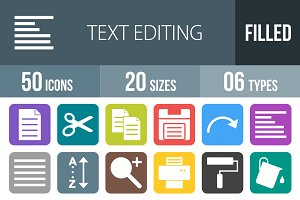 50 Text Edit Flat Round Corner Icons