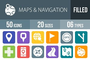 50 Maps Flat Round Corner Icons