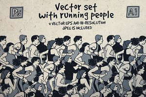 Vector set with running people