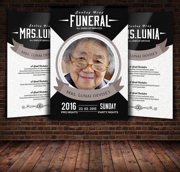 funeral memorial program templates flyer templates creative market