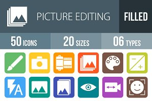 50 Picture Edit Round Corner Icons