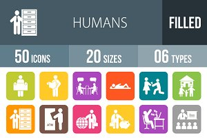 50 Humans Flat Round Corner Icons