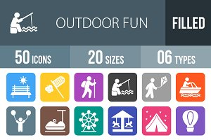 50 Outdoor Fun Round Corner Icons