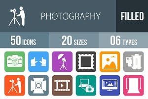 50 Photography Round Corner Icons