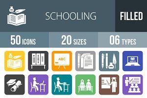 50 Schooling Flat Round Corner Icons