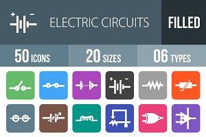 50 Circuits Flat Round Corner Icons