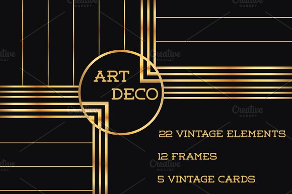 37 art deco design elements vol 1 illustrations for Deco 5 elements